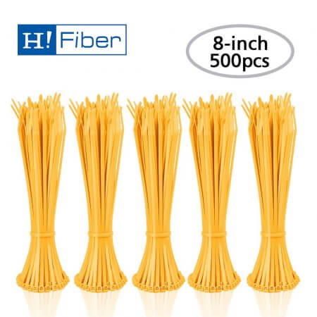 Zip Ties (500pcs) Self-Locking 8 Inch Nylon Cable Ties in Yellow UL Certificated